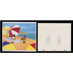 Bam Bam Pebbles Original Cel Cheerful Drawing Animation