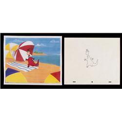 Flintstones Drawing Original Dino Production Cel Art