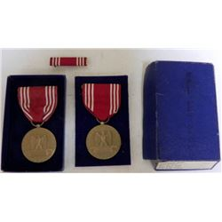 2 WWII GOOD CONDUCT MEDALS WITH ONE BOX