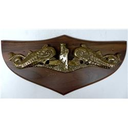 "BRASS & WOOD SUBMARINE PLAQUE--15"" WOOD PLAQUE"