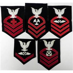 5) U.S. NAVY SLEEVE RATE & RANKING PATCHES - LARGE