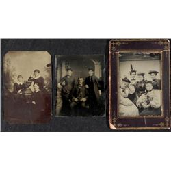 3 Antique Tintype Photographs Women Groups 1/6 Plt