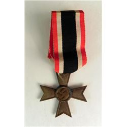 "WWII NAZI WAR MERIT CROSS W/RIBBON-RING MAKER MKD ""65"""