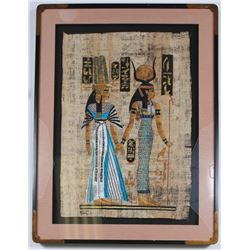 Large Egyptian Papyrus Pharoah & Queen Signed Painting