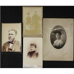 4 Antique Cabinet Card & Mantle Photos Women, Man