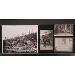 4 Vintage Photos & Postcards Mining, Oil Field, Cowboy