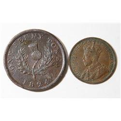 2 Canadian Coins 1824 Nova Scotia Token & 1920 Penny