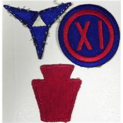 3) U.S. WWII UNIFORM INSIGNIA