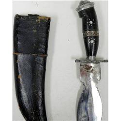VINTAGE INDIAN GHURKA KNIFE & SCABBARD-HAND ETCHED BLAD