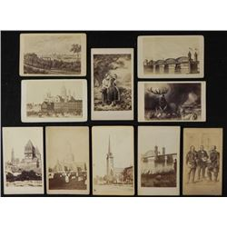 10 Antique CDV Photos Paintings, Buildings, Travel
