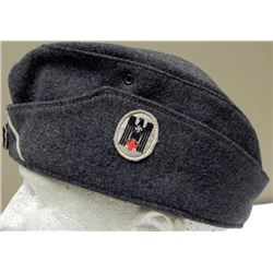 "NAZI RED CROSS OVERSEAS CAP WITH INITIALS ""KL"" STITCHED"