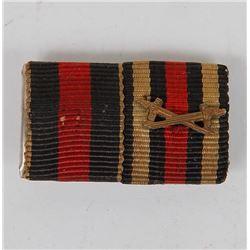 ORIG NAZI DOUBLE RIBBON BAR FOR WAR MERIT CROSS W/SWORD