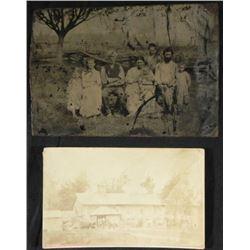2 Antique Photos Tintype Rural Family Outdoor Group