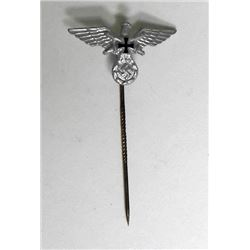 NAZI ERA VETERAN'S STICKPIN-EAGLE, SWASTIKA IRON CROSS