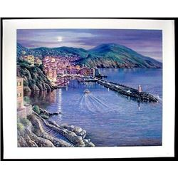 VIEW OF CAMOGLI Signed Sipos Landscape Art on Canvas