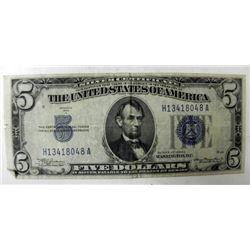 1934A US Silver $5 Certificate Bill