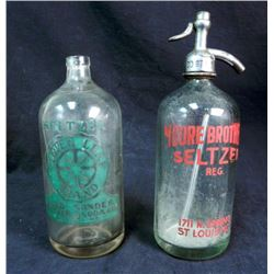 2 WWII ERA SELTZER WATER BOTTLES - ONE WITH TOP TAPPER