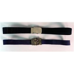 2 U.S. MILITARY BLUE WEB BELTS & BRASS BUCKLES