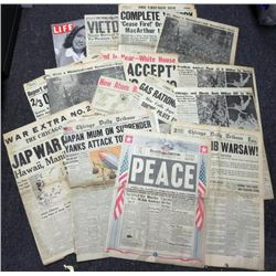 COLLECTION OF 15 WWII HEADLINE NEWSPAPERS & LOOK MAG