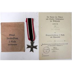 NAZI WAR MERIT CROSS W/SWORDS ISSUE ENVELOPE DOCUMENT