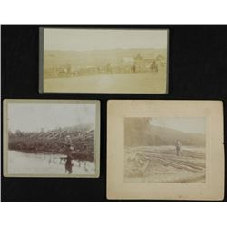 3 Antique Outdoor Photographs Fishing, Ranch, Lumber