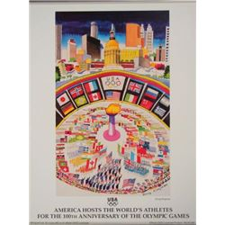 1996 Olympics AMERICA HOSTS THE ATHLETES Kingman Poster