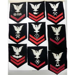 COLLECTION OF 9 WWII U.S. NAVAL RATING PATCHES