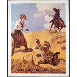 Colt Vintage Gun Advertising Poster Lady & Tiger