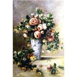 "(ART) ""A Bouquet Of Roses And Jasmine In A Delft Vase"" - Pierre-Auguste Renoir (FL3616REN-20)"
