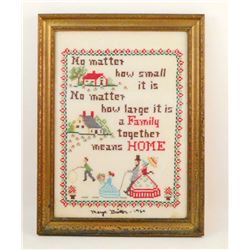 1964 CROSS STITCH SAMPLER - FRAMED