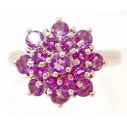 STERLING SILVER PURPLE AMETHYST RING - SIZE 8.25