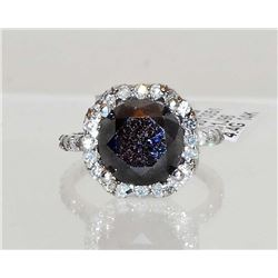 14KT WHITE GOLD LADIES BLACK & WHITE DIAMOND RING W/ APPRAISAL - SIZE 7