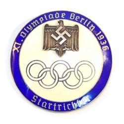 GERMAN NAZI BERLIN SUMMER OLYMPICS STARTER OFFICIALS BADGE