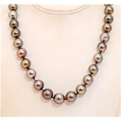 SINGLE STRAND TAHITIAN CULTURED PEARL NECKLACE W/ APPRAISAL