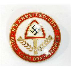 GERMAN NAZI REICHS ARBEITS DIENST RAD ENAMELED PARTY BADGE