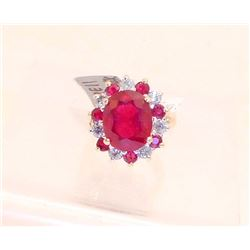 14KT GOLD LADIES RUBY & DIAMOND RING W/ APPRAISAL - SIZE 5