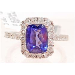 18KT WHITE GOLD LADIES TANZANITE & DIAMOND RING W/ APPRAISAL  - SIZE 7