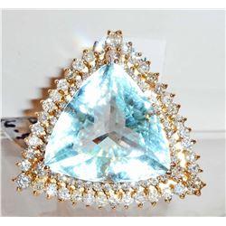 14KT GOLD LADIES AQUAMARINE & DIAMOND RING W/ APPRAISAL  - SIZE 6.75