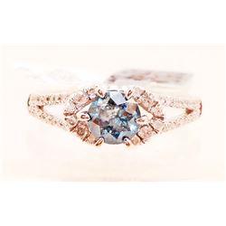 14KT WHITE GOLD LADIES BLUE DIAMOND RING W/ APPRAISAL - SIZE 7
