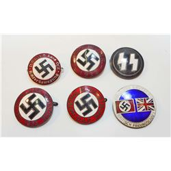 LOT OF 6 GERMAN NAZI ENAMELED PARTY BADGES