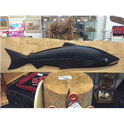 "CRAIG VOISIN, SALMON CARVING WITH ABALONE INLAY 47"" L X 11"" H"