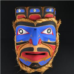 "EMIL THIBERT, SALTEAUX NATION, KOMOKWA KING OF THE SEA MASK WITH ABALONE ACCENT 20.5"" H X 15"" W"