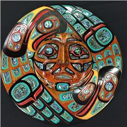 "JACOB LEWIS, COAST SALISH ""BIRDS SURROUNDING THE SUN ECLIPSE"" HEAVILY INLAID WITH 102 ABALONE"