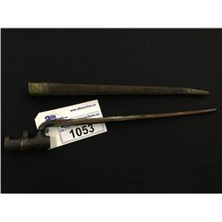 "BRITISH MODEL 1853 SOCKET BAYONET, MADE FOR MARTINI HENRY RIFLE, 17 1/2"" WITH SCABBARD"