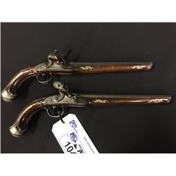 "PAIR OF ENGLISH HOLSTER PISTOLS, LONDON MARKED FLINTLOCK PISTOLS WITH .62 CALIBRE 10 1/4"" BARRELS."