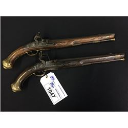 PAIR OF 17TH CENTURY, ENGLISH FLINTLOCK HOLSTER PISTOLS- UNMARKED LOCKS WITH LITTLE ENGRACING, 12