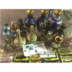 LOT OF ASIAN CLOISONNE & SMALL VASES
