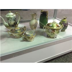 SHELF LOT OF HAND PAINTED PORCELAIN INCLUDING NIPPON, CARLTON WARE