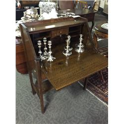 ANTIQUE OAK DROP TOP DESK AND SILVER PLATED CANDLE HOLDERS