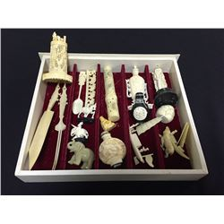 COLLECTION OF ORNATELY CARVED SMALL ANTIQUE IVORY & BONE FIGURINES